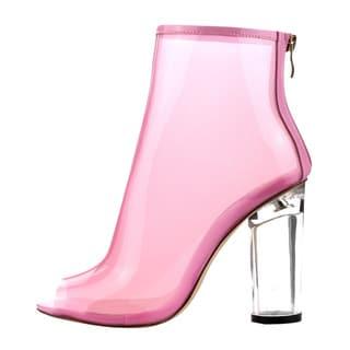 CAPE ROBBIN FF66 Women's Peep Toe Block Clear Lucite Heel Ankle Booties