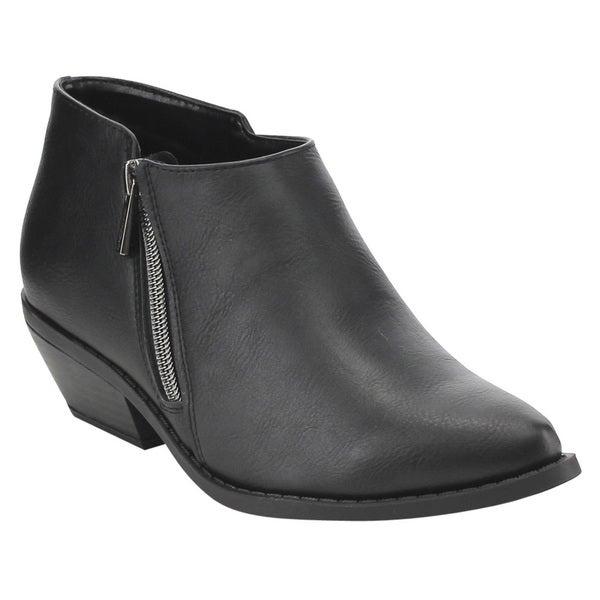 FF33 Women's Classic Side Zipper Stacked Block Heel Ankle Booties