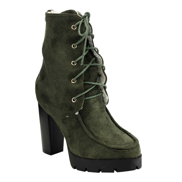FF15 Women's Lace Up Stacked Chunky Heel Platform Ankle Booties