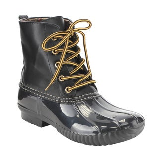 Anna AE48 Women's Black Faux Leather Lace-up Two-tone Combat-style Calf Weather Duck Boots