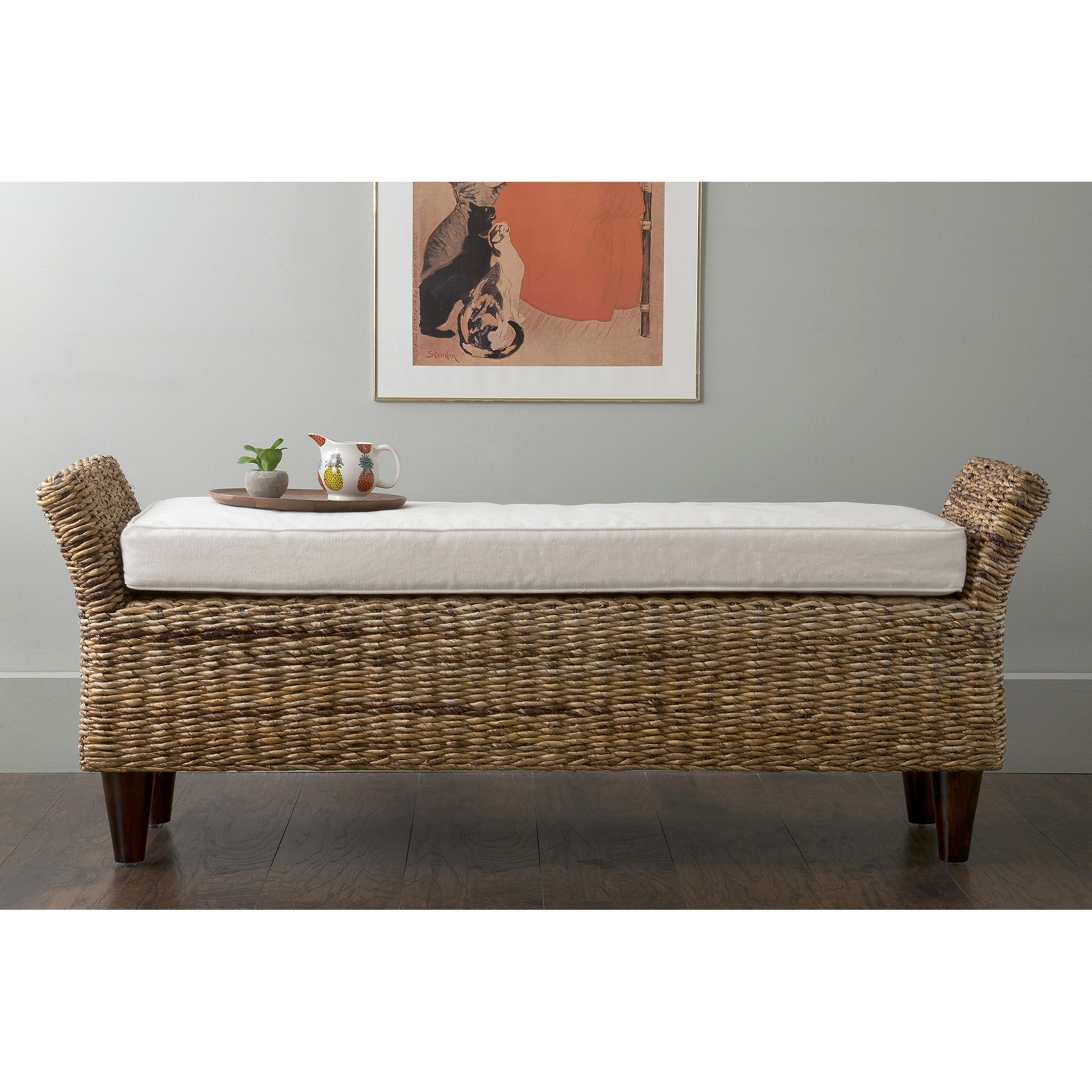 East At Main's Cline Brown Abaca Bench (Cline-205-WF) (Ra...