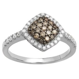14k Gold 1/2ct TDW Round Champagne and White Diamond Cluster Style Bridal Engagement Ring (I-J, I1-I2)