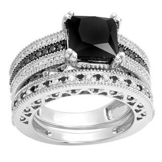 Sterling Silver 4 3/4ct TDW Princess and Round-cut Black and White Diamond Bridal Engagement Ring Set (I-J, I1-I2 )