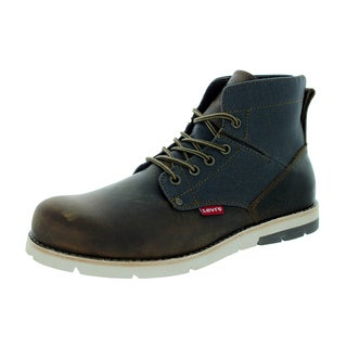 Levi's Men's Jax Brown/Charcoal Leather Boots