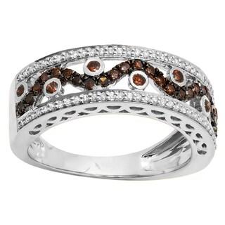 14k Gold 5/8ct TDW Round Champagne and White Diamond Anniversary Ring Wedding Band (I-J, I1-I2)
