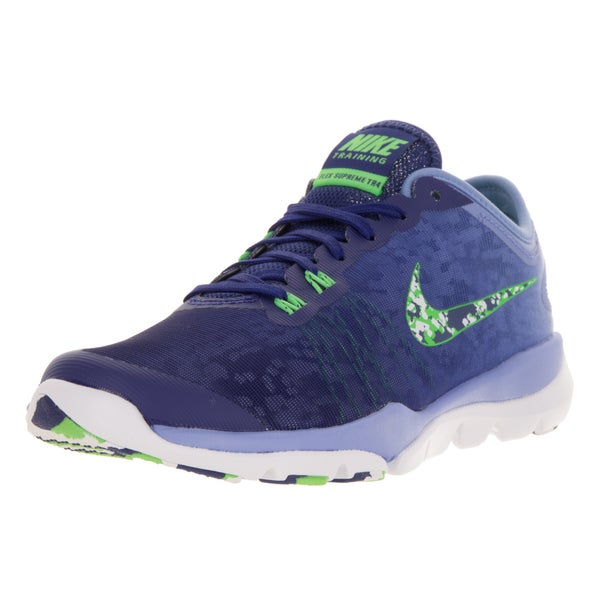 66109a925f1ba Shop Nike Women s Flex Supreme TR 4 Blue and Green Training Shoe ...