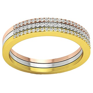 14k Tri-color Gold 1/5ct TDW Round-cut Diamond Stackable Wedding Contour Band Guard Ring (I-J, I1-I2)