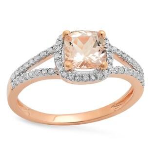 10k Rose Gold 1ct TDW Cushion Morganite and Round White Diamond Bridal Halo Engagement Ring (I-J, I2-I3)