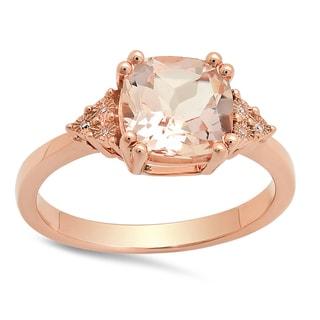 10k Rose Gold 2ct TDW Cushion-cut Morganite and Round White Diamond Bridal Engagement Ring (I-J, I1-I2)