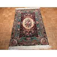 Oriental Burgundy Wool Hand-knotted Aubusson Rug - 4' x 6'