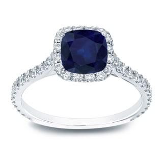 Auriya Platinum 1ct Cushion Cut Blue Sapphire and 1/2ct TDW Diamond Halo Engagement Ring (H-I, SI1-SI2)