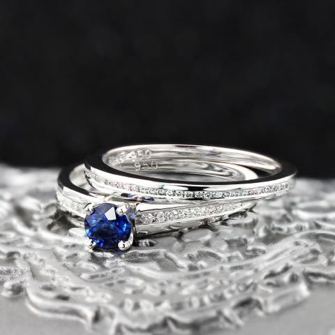 Auriya Platinum 1/2ct Blue Sapphire & Diamond Engagement Ring Set 1/2ctw