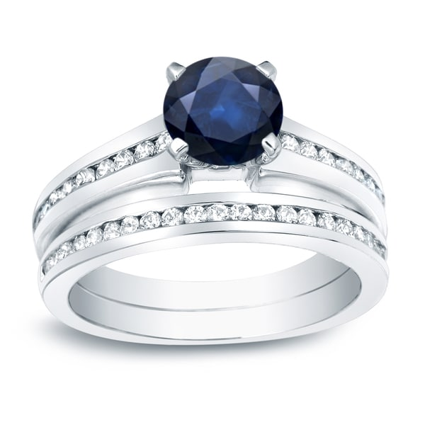 Auriya Platinum 1/2ct Blue Sapphire and 1/2ct TDW Round Cut Diamond Engagement Ring Set