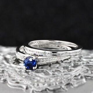 Auriya Platinum 1 2ct Blue Sapphire And 1 2ctw Round Cut Diamond Engagement Ring Set
