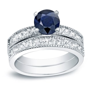 Auriya Platinum 4/5ct Round Blue Sapphire and 1 1/5ct TDW Diamond Bridal Ring Set (H-I, SI1-SI2)