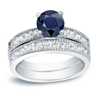 Auriya Platinum 4/5ct Round Blue Sapphire and 1 1/5ct TDW Diamond Bridal Ring Set (H-I, SI1-SI2)|https://ak1.ostkcdn.com/images/products/13317960/P20023936.jpg?impolicy=medium