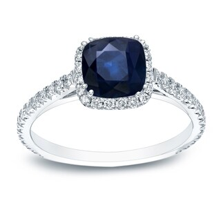 Auriya Platinum 3/4ct Cushion Cut Blue Sapphire and 3/4ct TDW Halo Diamond Engagement Ring
