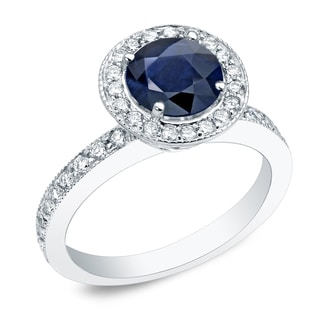 Auriya Platinum 1/2ct Blue Sapphire and 1/2ct TDW Round Diamond Halo Engagement Ring (H-I, SI1-SI2)