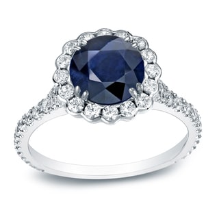 Auriya Platinum 3/4ct Round Cut Blue Sapphire and 3/4ct TDW Diamond Halo Engagement Ring (H-I, SI1-SI2)