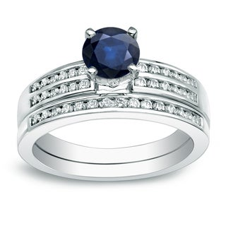 Auriya Platinum 3/5ct Round Blue Sapphire and 2/5ct TDW Diamond Bridal Ring Set (H-I, SI1-SI2)