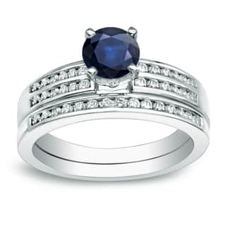 Auriya Platinum 3/5ct Round Blue Sapphire and 2/5ct TDW Diamond Bridal Ring Set (H-I, SI1-SI2)|https://ak1.ostkcdn.com/images/products/13317973/P20023939.jpg?impolicy=medium