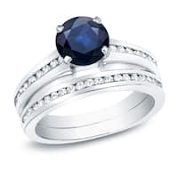 Auriya Platinum 1ct Round Sapphire and 1ct TDW Diamond Engagement Ring Set