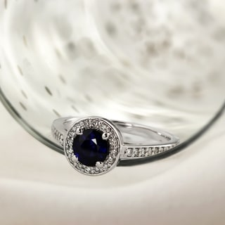 Auriya Platinum 3/4ct Round Cut Blue Sapphire and 1/3ct TDW Diamond Halo Engagement Ring (H-I, SI1-SI2)