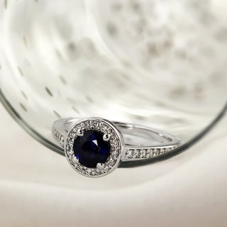 Auriya Platinum 3/4ct Round Cut Blue Sapphire and 1/3ct TDW Halo Diamond Engagement Ring