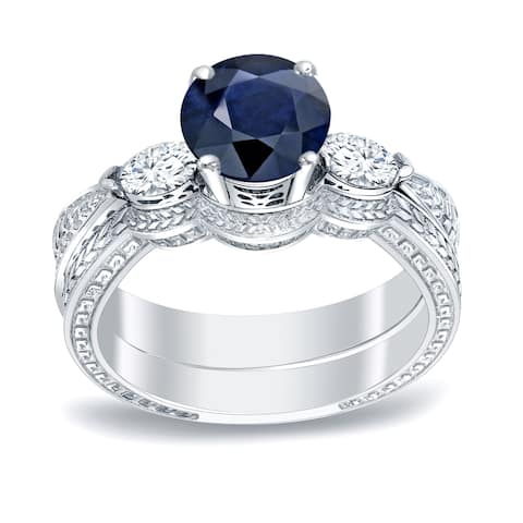 Auriya Platinum 1/2ct Vintage Sapphire & 3-Stone Diamond Engagement Ring Set 1/3ctw