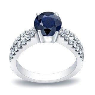 Auriya Platinum 3/5ct Round Cut Blue Sapphire and 2/5ct TDW Diamond Engagement Ring (H-I, SI1-SI2)