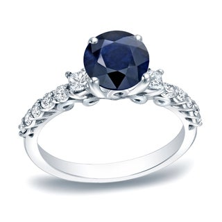 Auriya Platinum 1ct Round Cut Blue Sapphire and 2/5ct TDW Diamond Engagement Ring (H-I, SI1-SI2)
