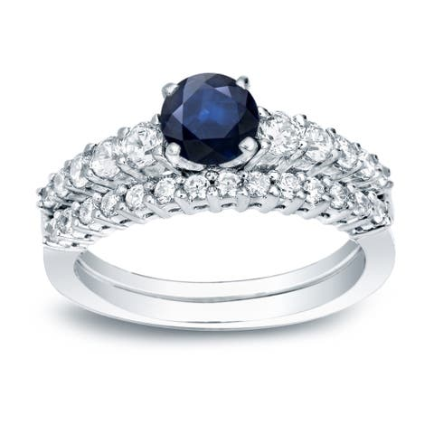 Auriya Platinum 1/2ct Blue Sapphire and Diamond Engagement Ring Set 1/2ctw