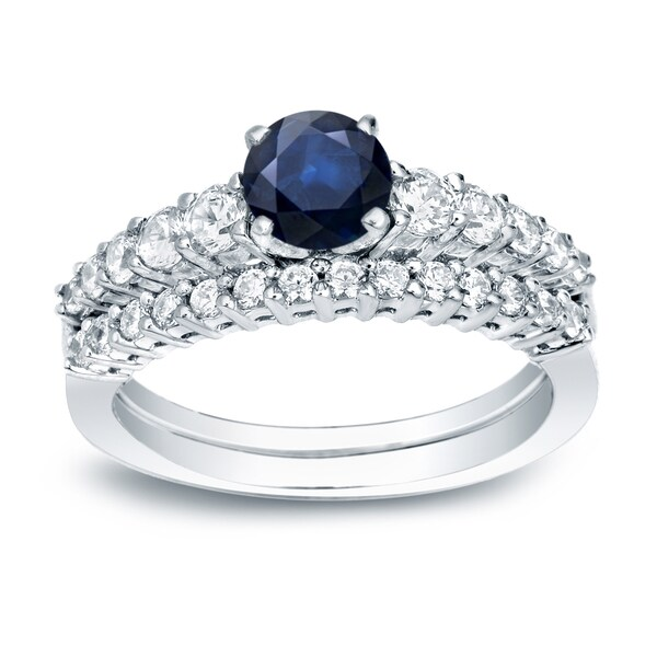 Auriya Platinum 1/2ct Blue Sapphire and Diamond Engagement Ring Set 1/2ctw. Opens flyout.