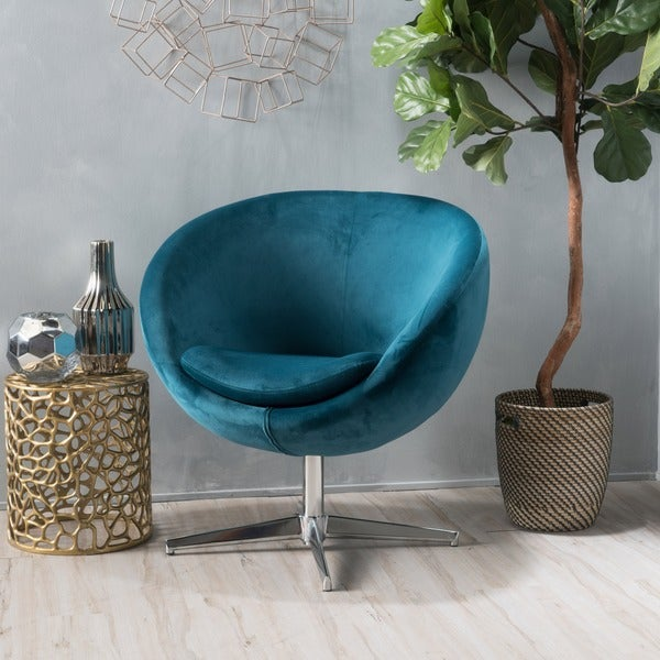 Isla Velvet Fabric Roundback Modern Chair by Christopher Knight Home. Opens flyout.