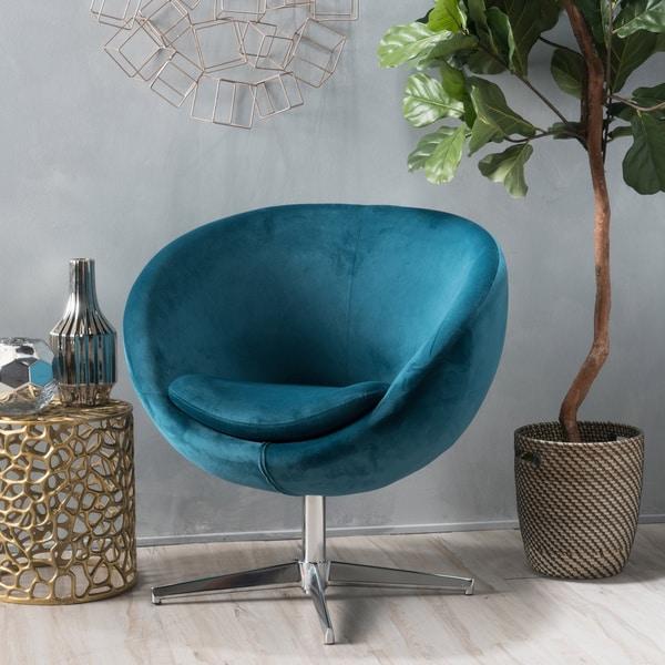 Isla Velvet Fabric Roundback Modern Chair By Christopher