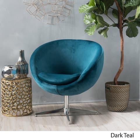 Isla Velvet Fabric Roundback Modern Chair by Christopher Knight Home