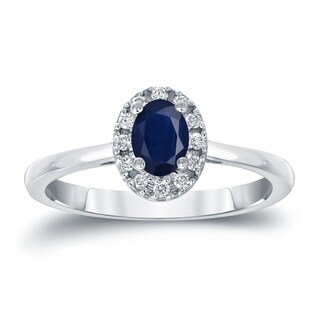 Auriya 14k Gold 1/2ct Oval Cut Blue Sapphire and 1/10ct TDW Diamond Halo Engagement Ring (H-I, SI1-SI2)