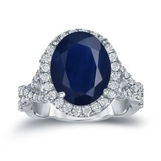 Auriya 14k Gold 5ct Oval Cut Blue Sapphire and 3/4ct TDW Diamond Halo Engagement Ring (H-I, SI1-SI2)