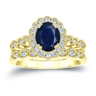 Auriya 14k Gold 1 1/2ct Oval Cut Blue Sapphire and 3/5ct TDW Diamond Halo Bridal Ring Set (H-I, SI1-SI2)