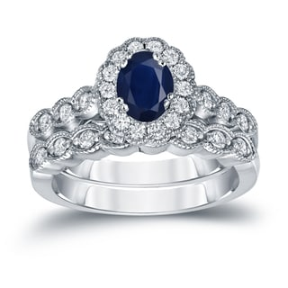 Auriya 14k Gold 1ct Oval Cut Blue Sapphire and 3/5ct TDW Diamond Halo Bridal Ring Set (H-I, SI1-SI2)