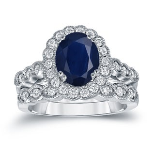 Auriya 14k Gold 2 1/2ct Oval Cut Blue Sapphire and 3/5ct TDW Diamond Brial Ring Set (H-I, SI1-SI2)