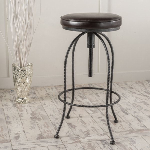 Aleena 29 Inch Adjustable Metal Barstool With Bonded Leather Cushion By  Christopher Knight Home