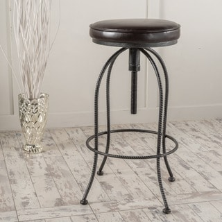 Aleena Adjustable Metal Barstool with Bonded Leather Cushion by Christopher Knight Home