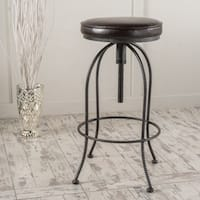 Aleena 29-inch Adjustable Metal Barstool with Bonded Leather Cushion by Christopher Knight Home