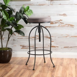 Aleena Adjustable Metal Barstool with Fabric Cushion by Christopher Knight Home