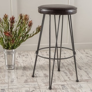 Anieli Metal Barstool with Bonded Leather Cushion by Christopher Knight Home