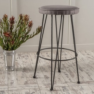 Anieli Metal Barstool with Fabric Cushion by Christopher Knight Home