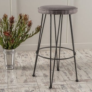 Christopher Knight Home Anieli Metal Barstool with Fabric Cushion