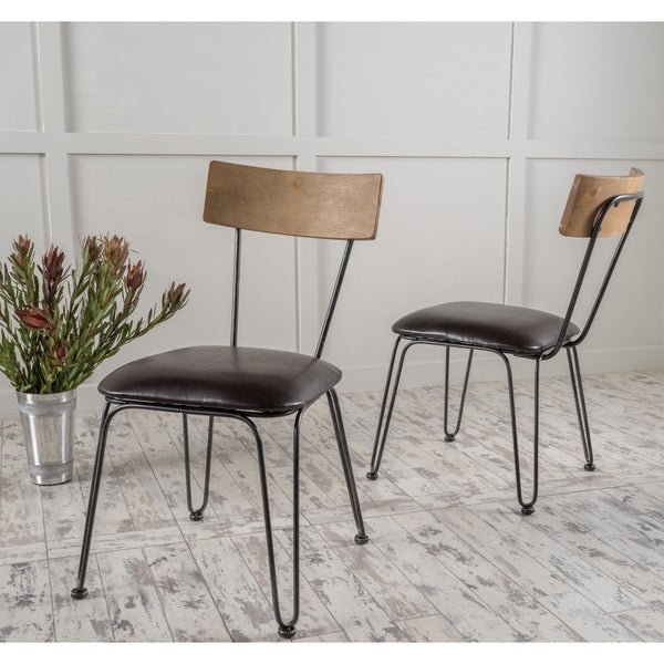 Beau Orval Metal Dining Chair With Bonded Leather Cushion (Set Of 2) By  Christopher Knight