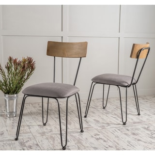 Link to Orval Metal Dining Chair with Fabric Cushion (Set of 2) by Christopher Knight Home Similar Items in Dining Room & Bar Furniture